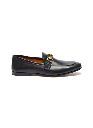 Main View - Click To Enlarge - GUCCI - 'Brixton' Web stripe horsebit leather step-in loafers