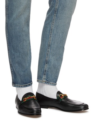 Figure View - Click To Enlarge - GUCCI - 'Brixton' Web stripe horsebit leather step-in loafers