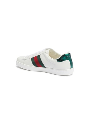 - GUCCI - 'Ace' bee embroidered Web stripe leather sneakers