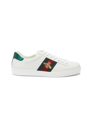 Main View - Click To Enlarge - GUCCI - 'Ace' bee embroidered Web stripe leather sneakers