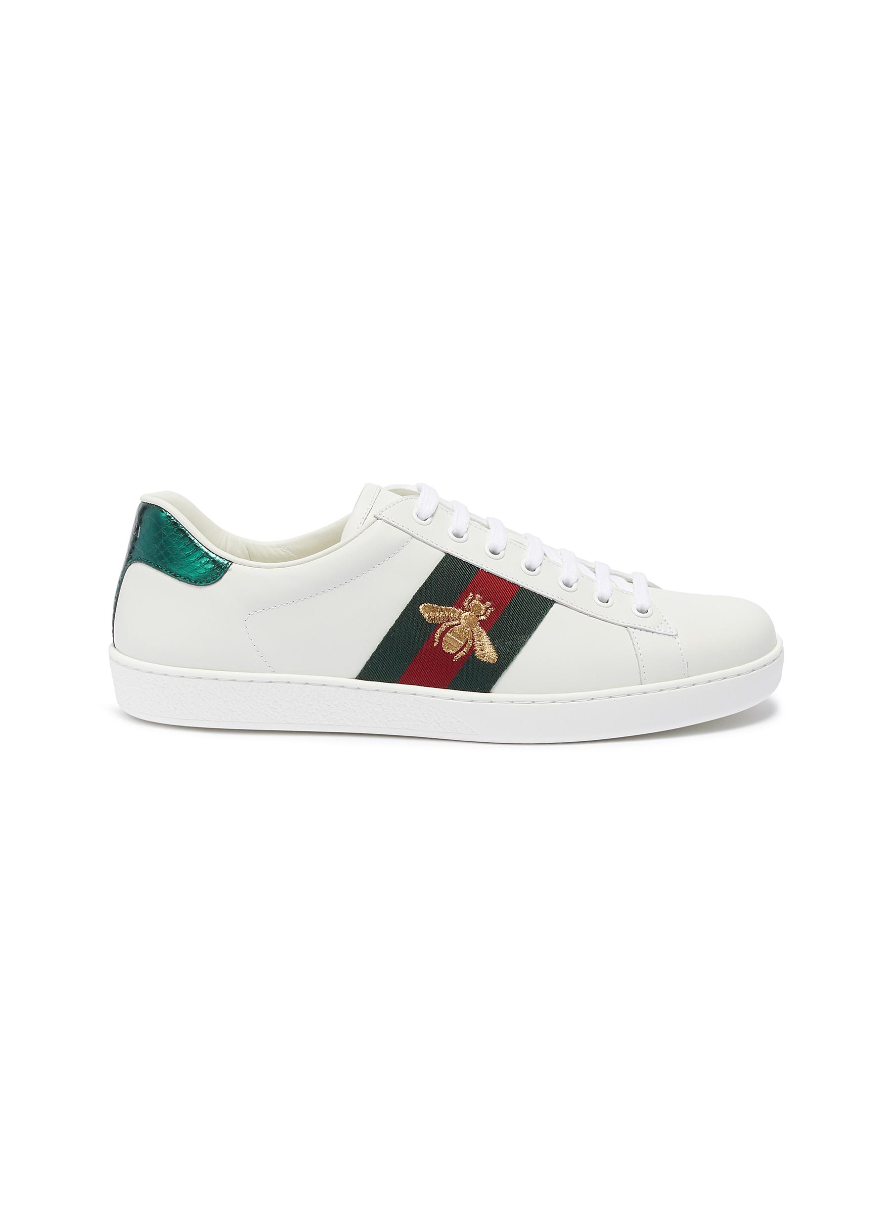 eb1c71518 GUCCI | 'Ace' bee embroidered Web stripe leather sneakers | Men ...