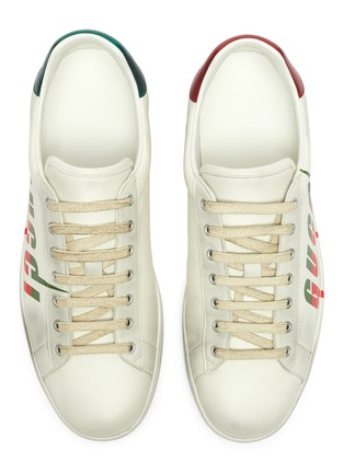 Detail View - Click To Enlarge - GUCCI - 'New Ace' logo print distressed leather sneakers