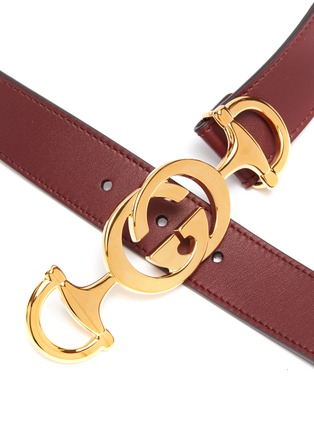 Detail View - Click To Enlarge - GUCCI - GG horsebit buckle leather belt