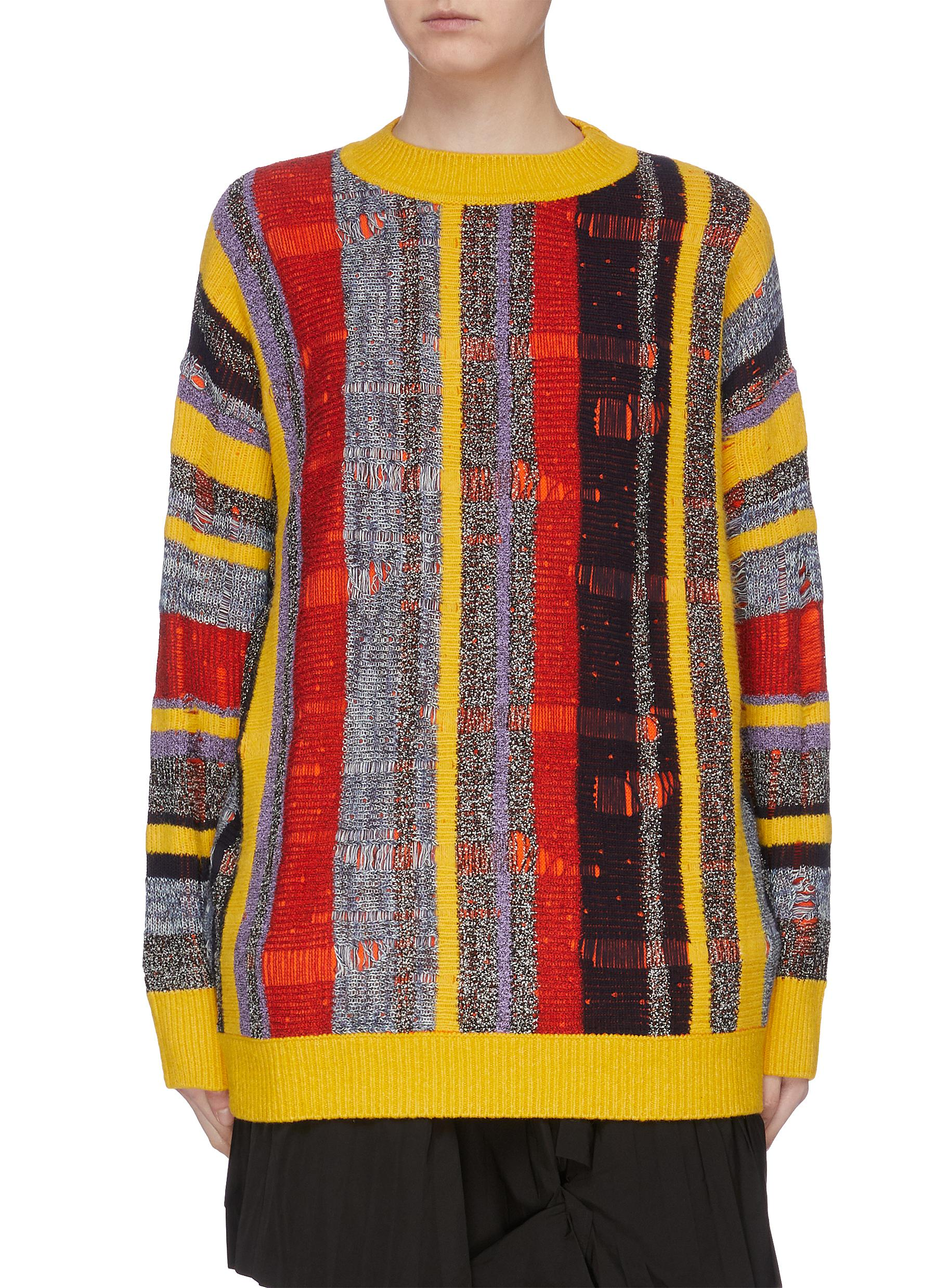 Abstract check intarsia sweater by Angel Chen