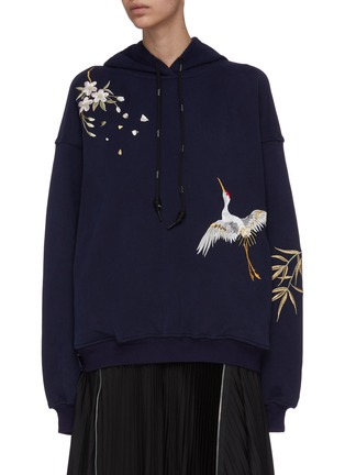 Main View - Click To Enlarge - ANGEL CHEN - Crane embroidered hoodie