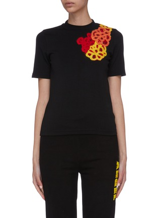 Main View - Click To Enlarge - ANGEL CHEN - x Woolmark floral appliqué T-shirt