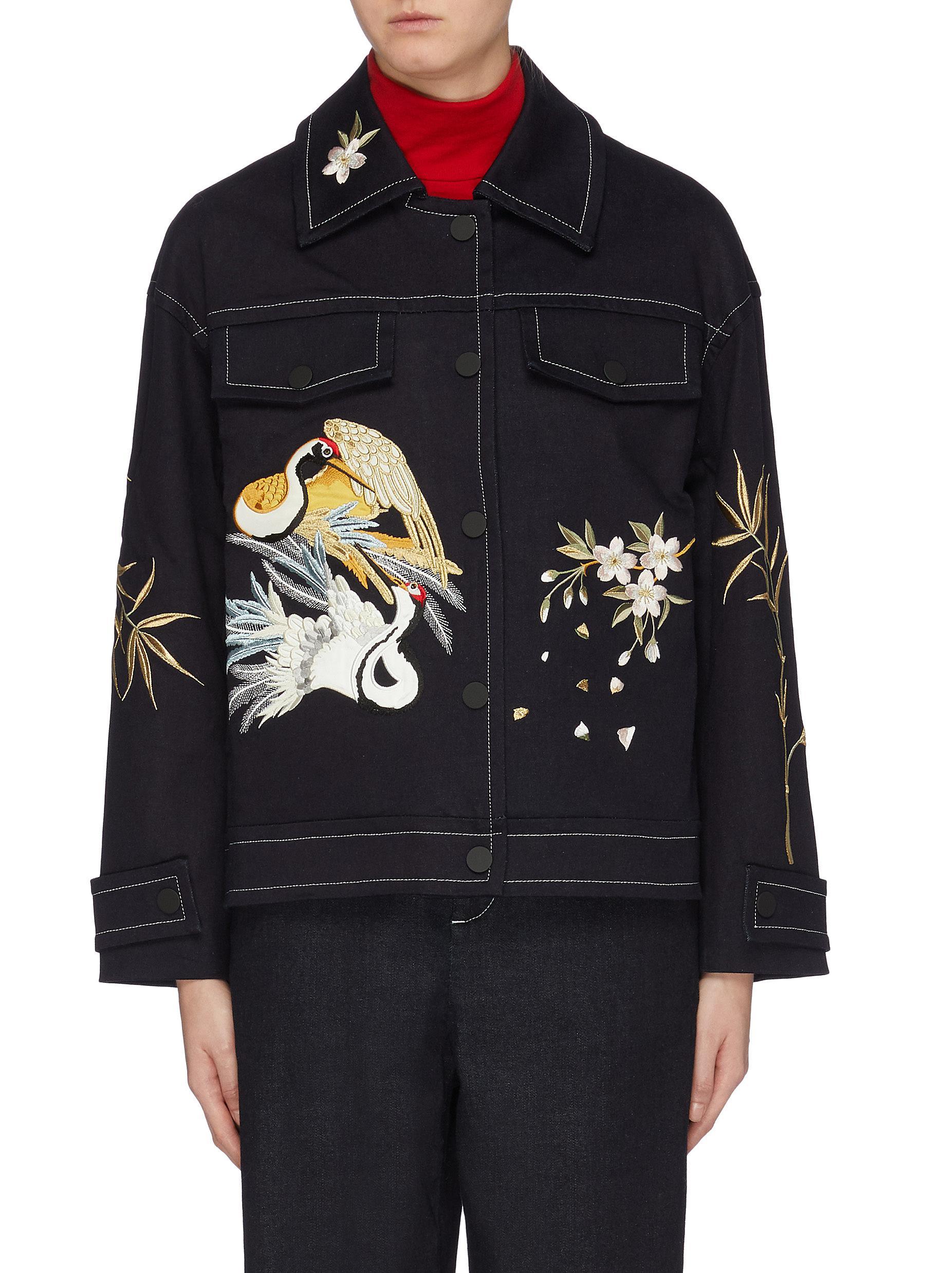 Crane embroidered denim jacket by Angel Chen