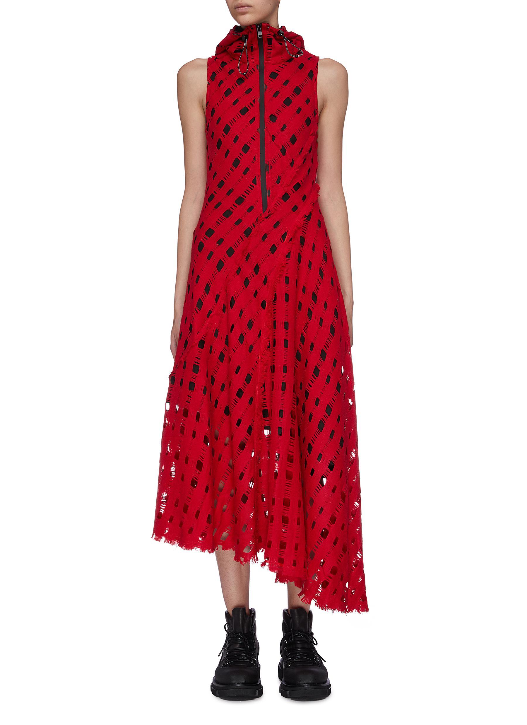 Hooded lattice knit asymmetric half-zip dress by Angel Chen