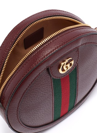 Detail View - Click To Enlarge - GUCCI - 'Ophidia' mini logo Web stripe round leather crossbody bag