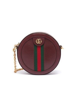 Main View - Click To Enlarge - GUCCI - 'Ophidia' mini logo Web stripe round leather crossbody bag