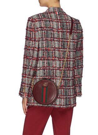 Figure View - Click To Enlarge - GUCCI - 'Ophidia' mini logo Web stripe round leather crossbody bag