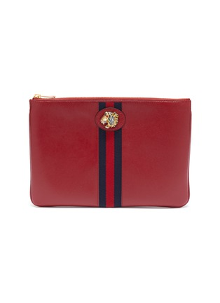 Main View - Click To Enlarge - GUCCI - 'Rajah' tiger Web stripe leather pouch