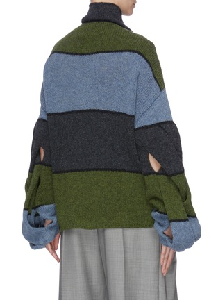 Back View - Click To Enlarge - JW ANDERSON - Twist front colourblock panelled sweater