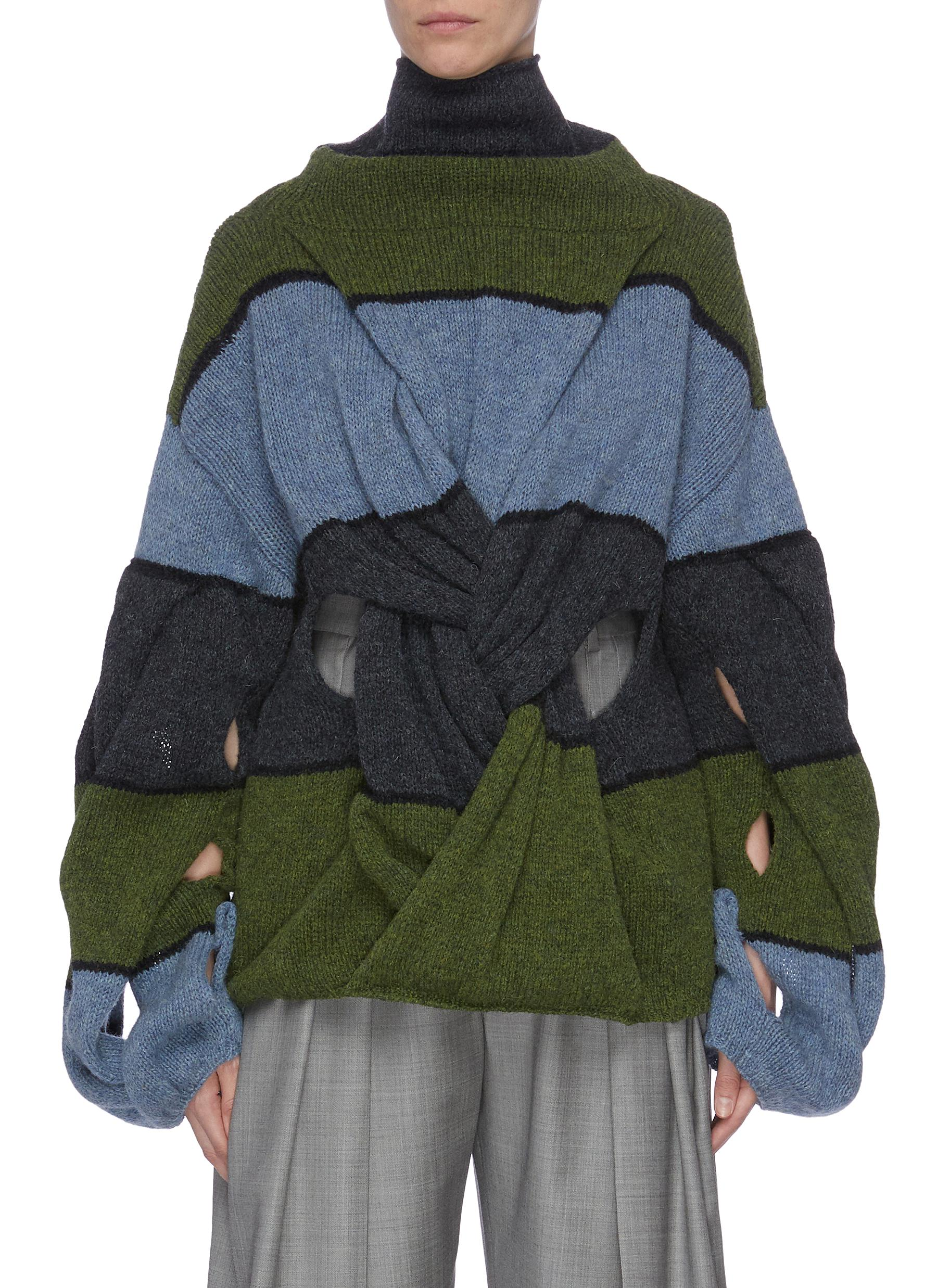 Twist front colourblock panelled sweater by Jw Anderson