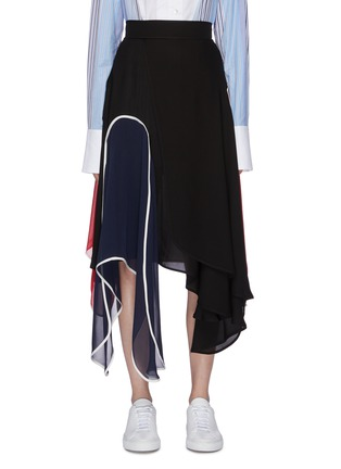 Main View - Click To Enlarge - JW ANDERSON - Colourblock panel handkerchief midi skirt