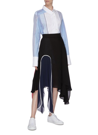Figure View - Click To Enlarge - JW ANDERSON - Colourblock panel handkerchief midi skirt