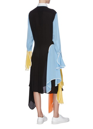 Back View - Click To Enlarge - JW ANDERSON - Colourblock panel handkerchief shirt dress