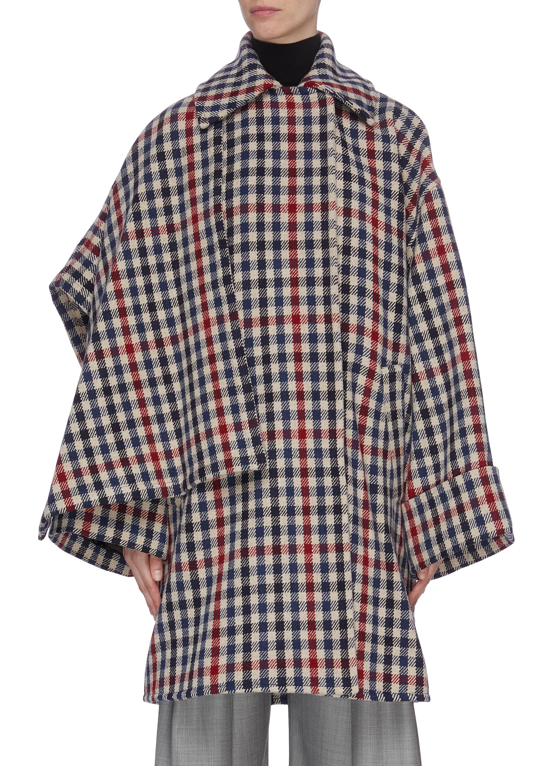 Asymmetric gingham check coat by Jw Anderson