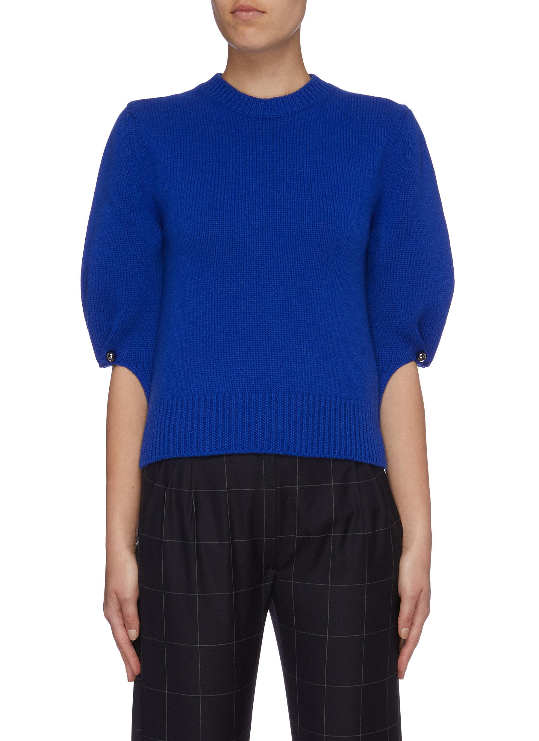 Pinned puff sleeve virgin wool-cashmere knit top by Mrz