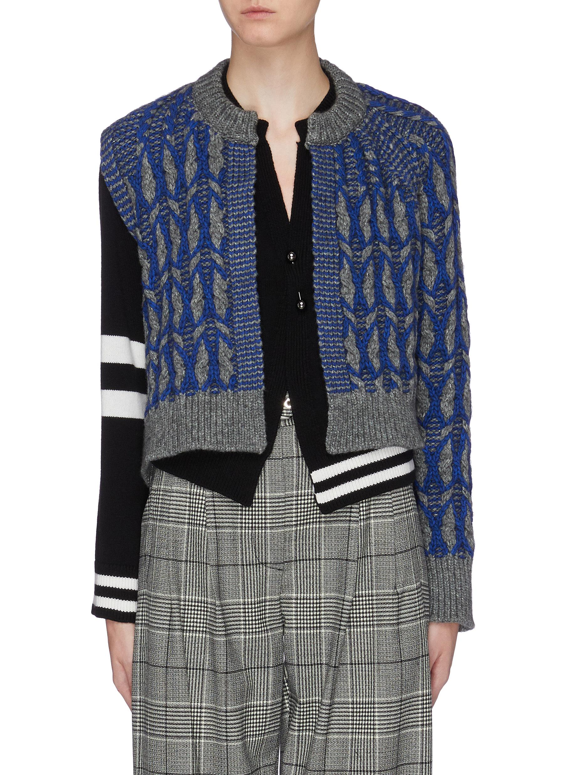 Asymmetric sleeve geometric intarsia cropped cardigan by Mrz