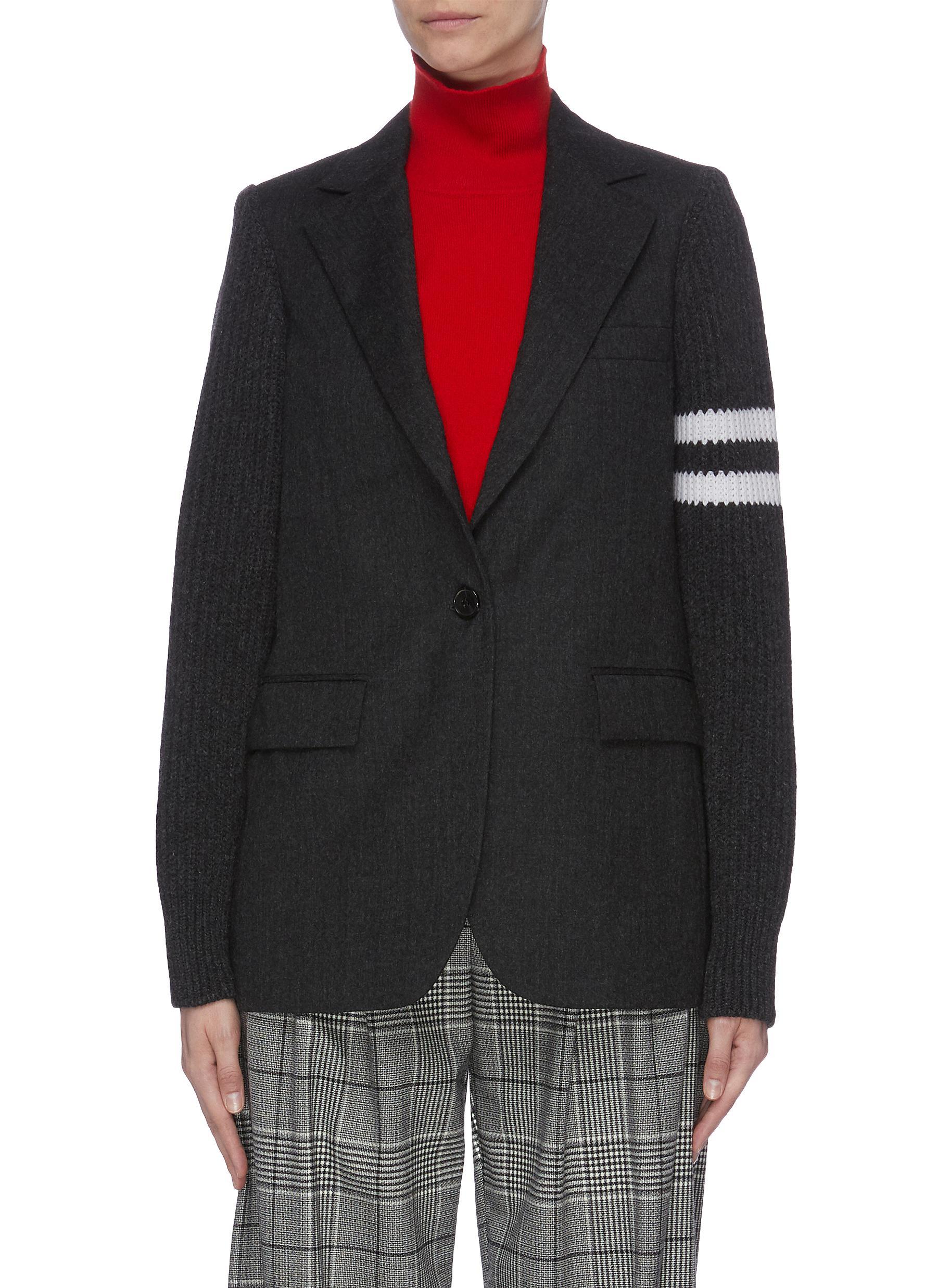 Stripe knit sleeve double breasted blazer by Mrz