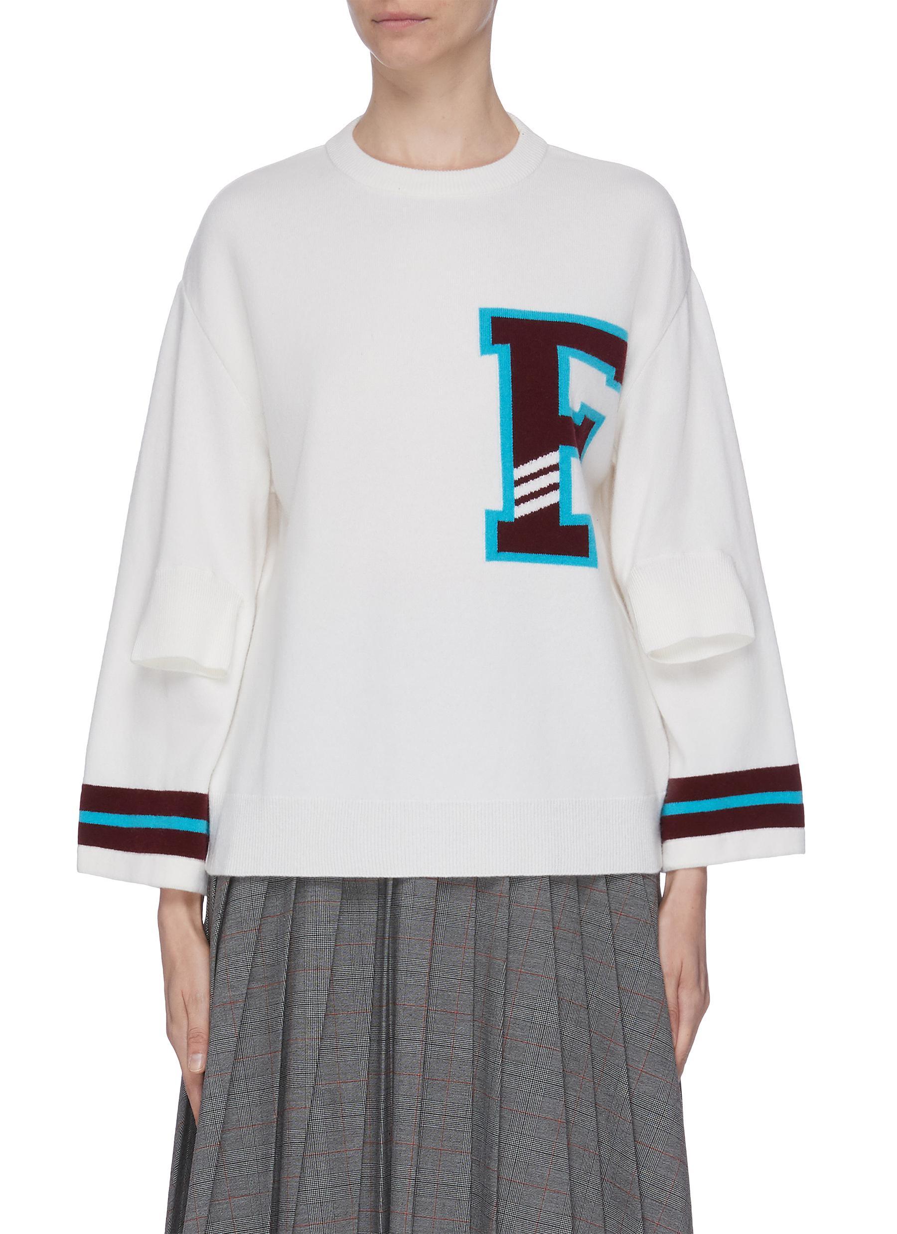 F appliqué stripe cuff csweater by Mrz