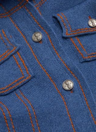 - BARRIE - Colourblock collar cashmere-cotton knit jacket