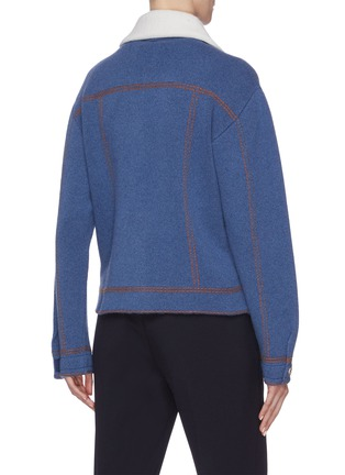 Back View - Click To Enlarge - BARRIE - Colourblock collar cashmere-cotton knit jacket