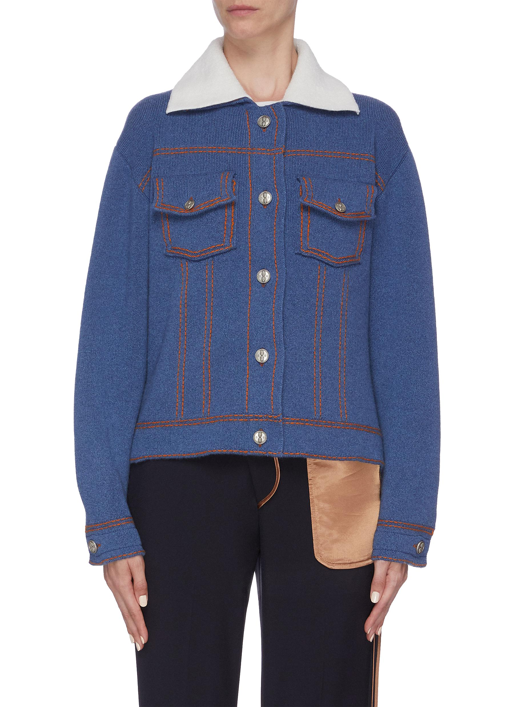 Colourblock collar cashmere-cotton knit jacket by Barrie
