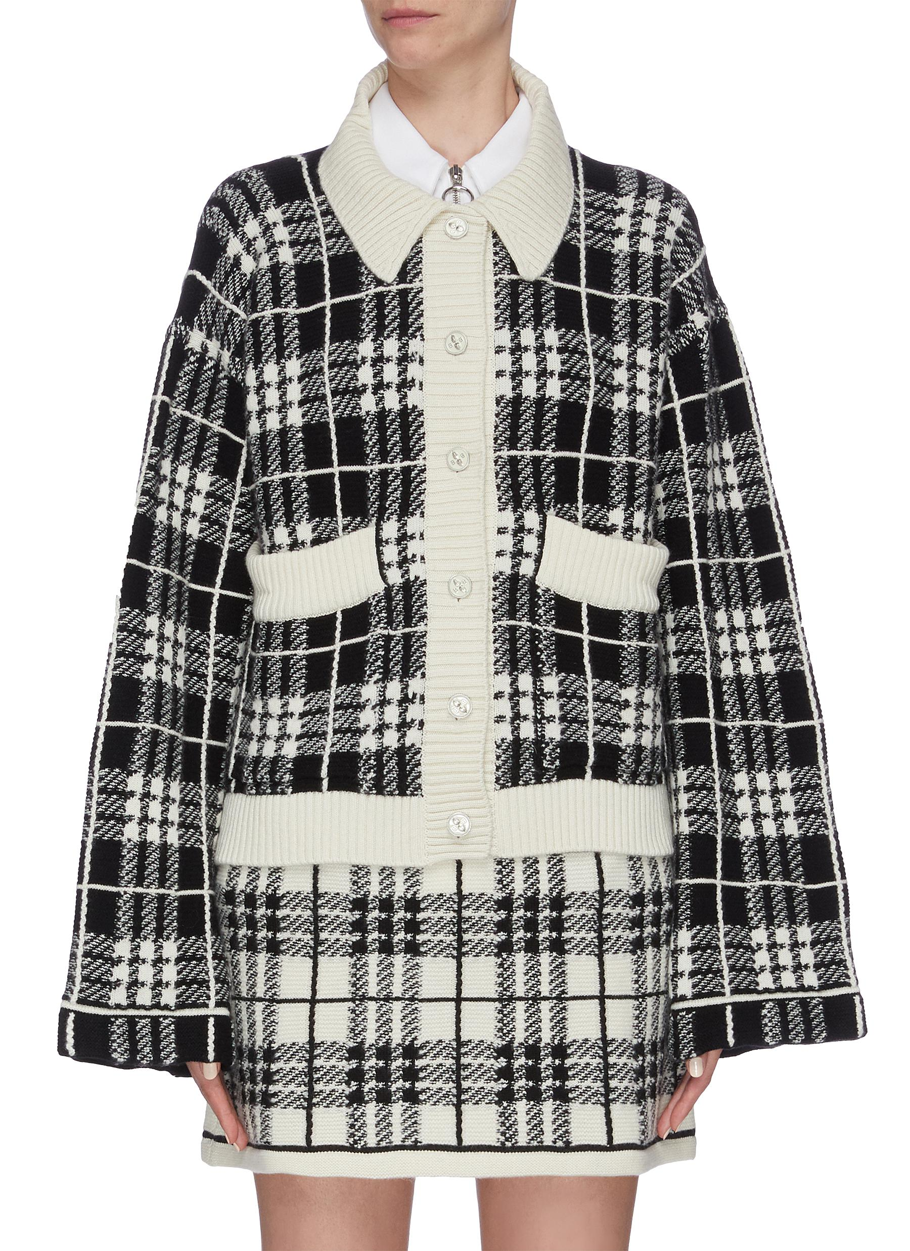 Tartan plaid cashmere cardigan by Barrie
