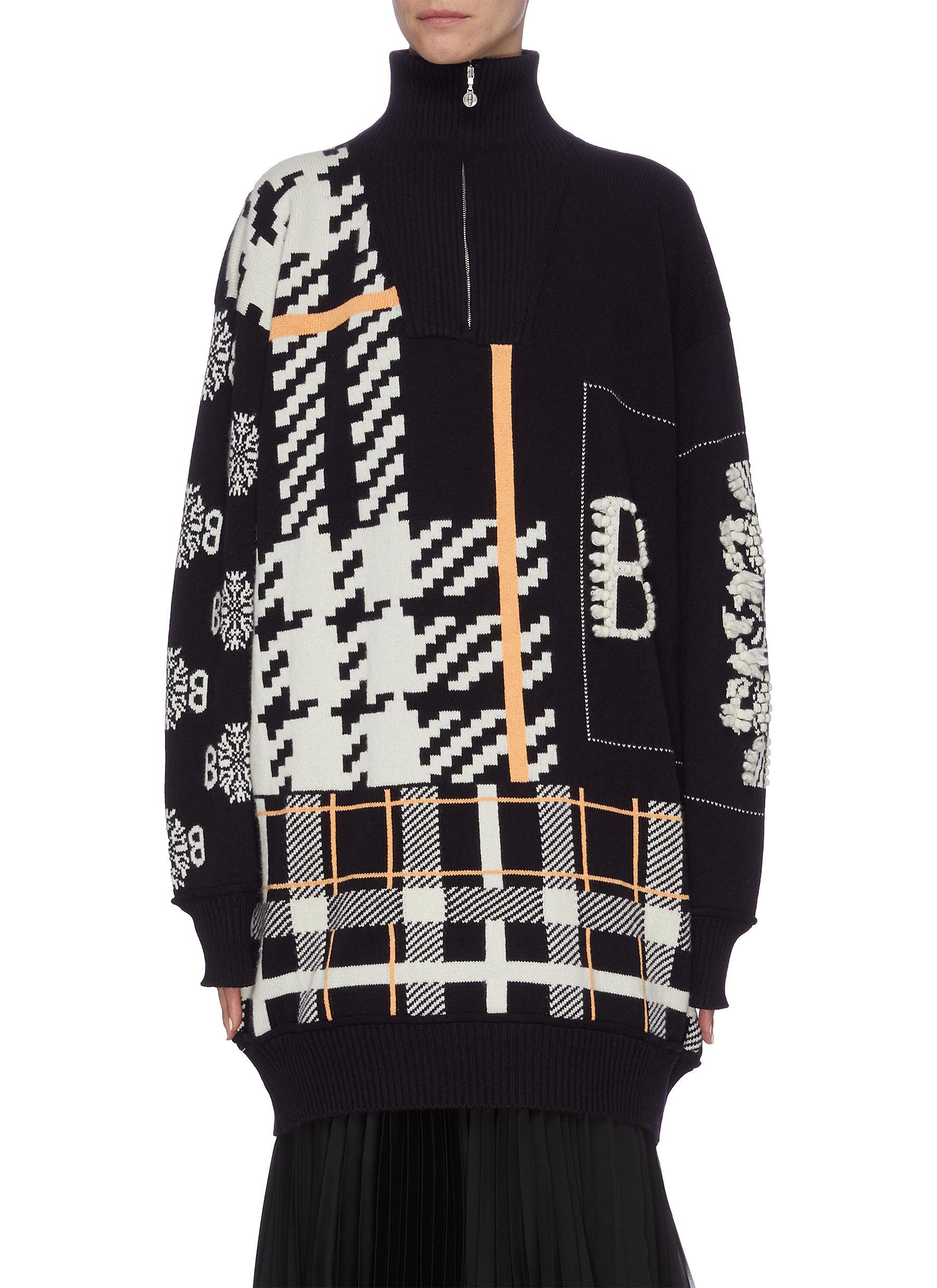 Mix pattern cashmere half-zip turtleneck sweater by Barrie
