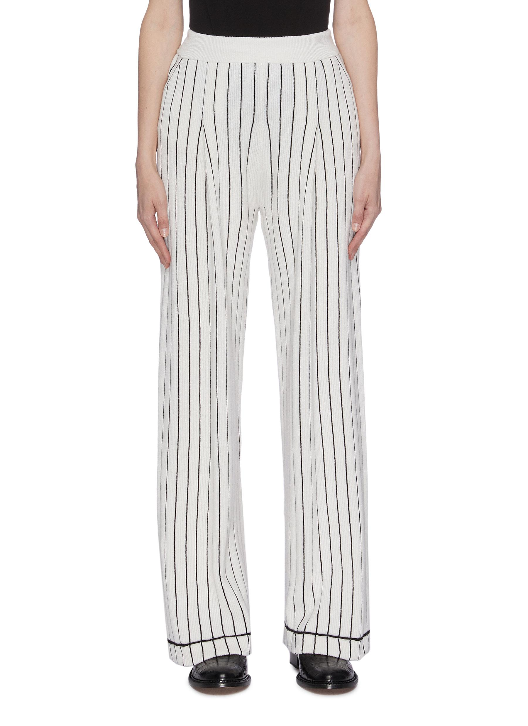 Stripe cashmere knit pants by Barrie