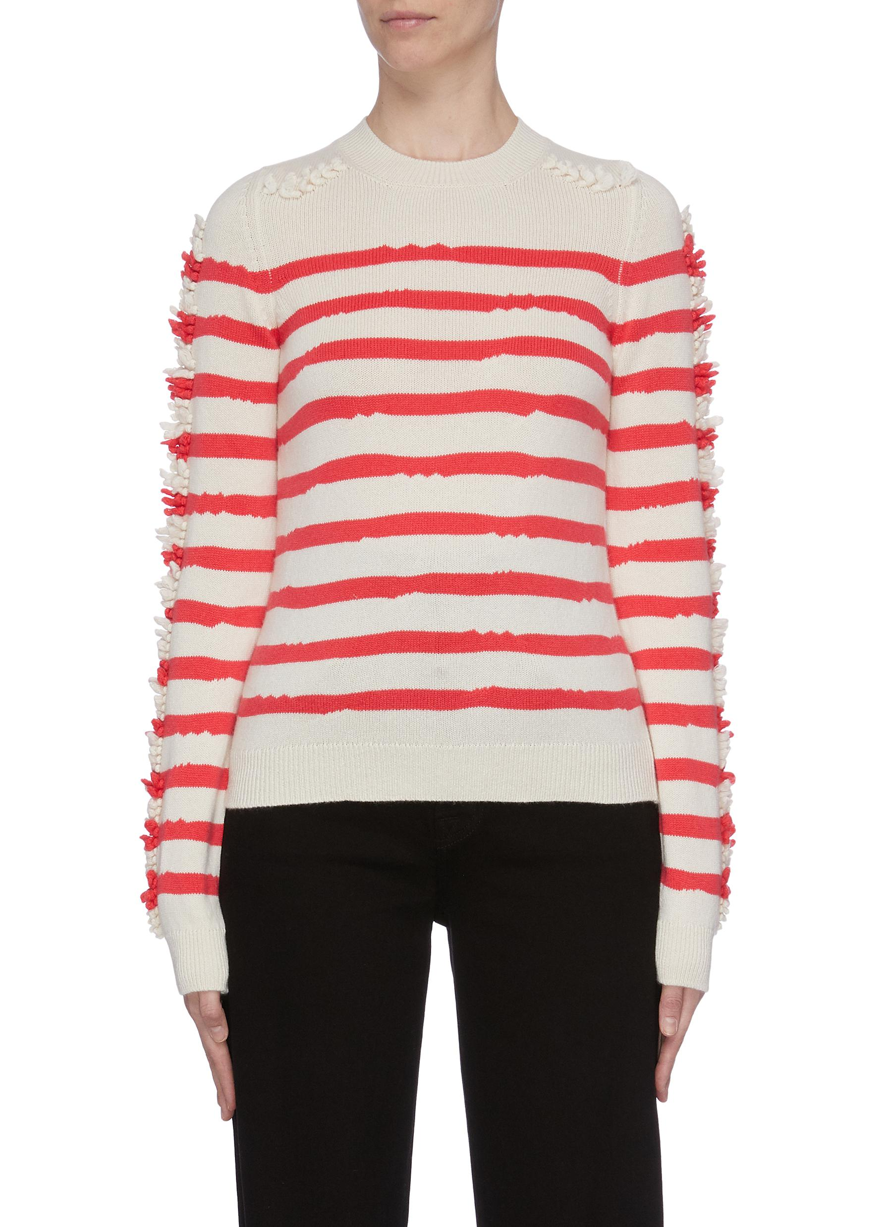 Embroidered sleeve stripe cashmere sweater by Barrie