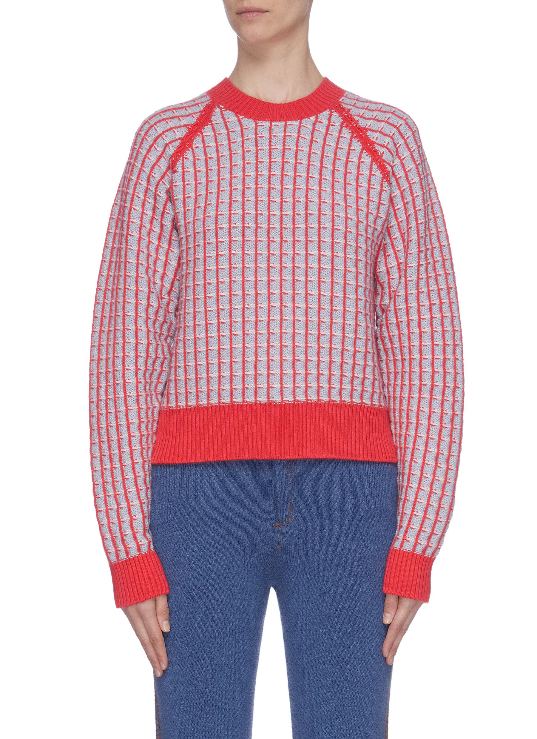 Buy Barrie Knitwear Grid check colourblock cashmere sweater