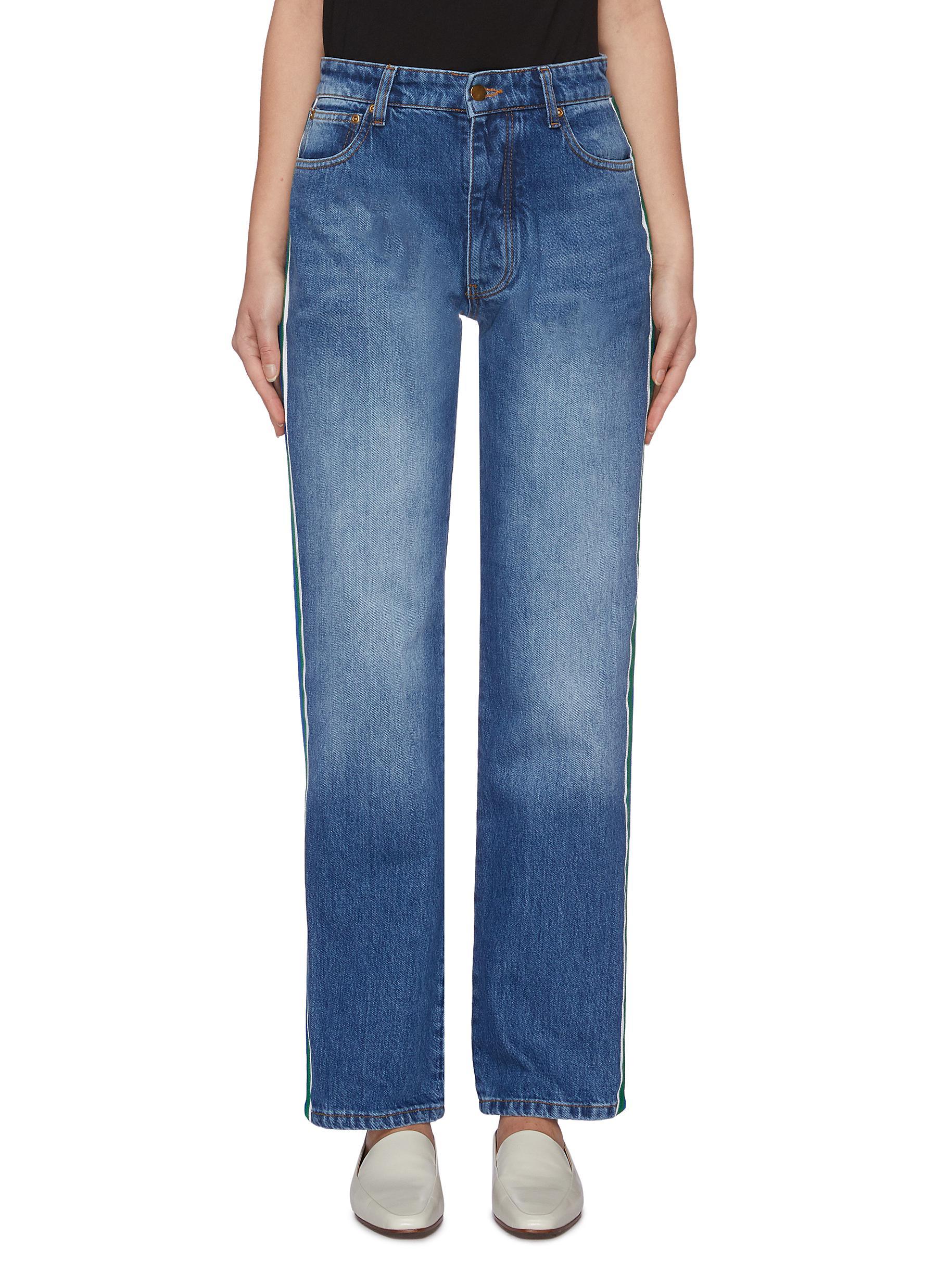 Arizona grosgrain stripe outseam boyfriend jeans by Victoria, Victoria Beckham