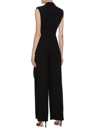 Back View - Click To Enlarge - BIANCA SPENDER - Ruffle side crepe sleeveless blazer jumpsuit