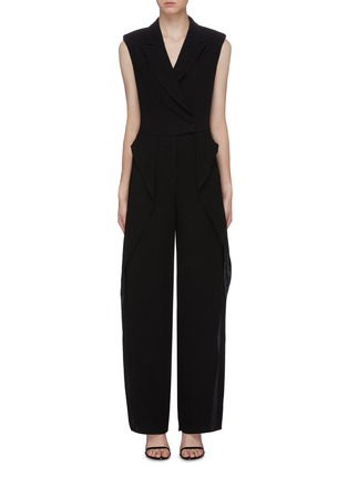 Main View - Click To Enlarge - BIANCA SPENDER - Ruffle side crepe sleeveless blazer jumpsuit
