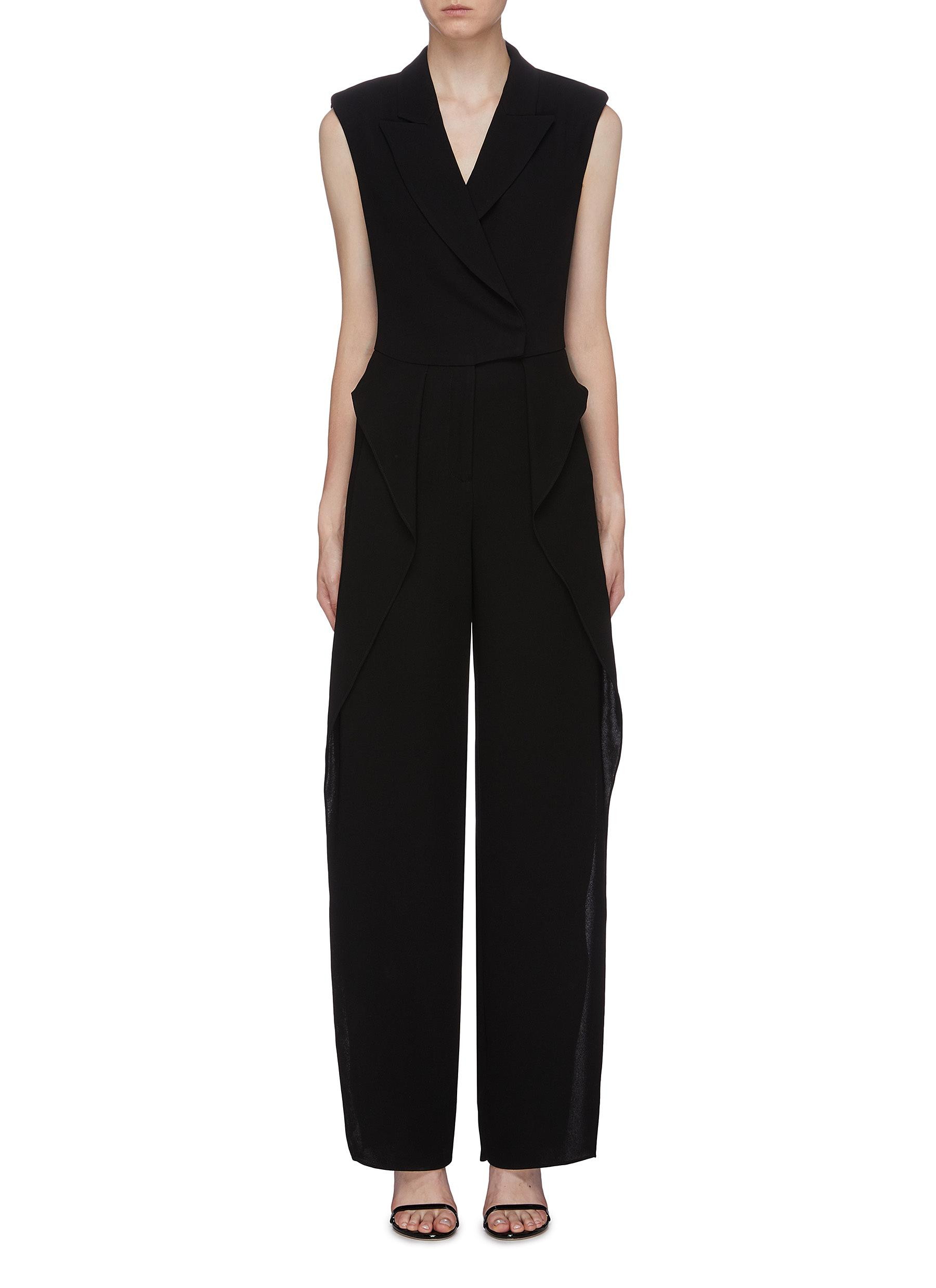 Ruffle side crepe sleeveless blazer jumpsuit by Bianca Spender