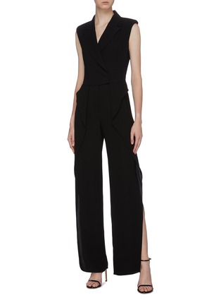 Figure View - Click To Enlarge - BIANCA SPENDER - Ruffle side crepe sleeveless blazer jumpsuit