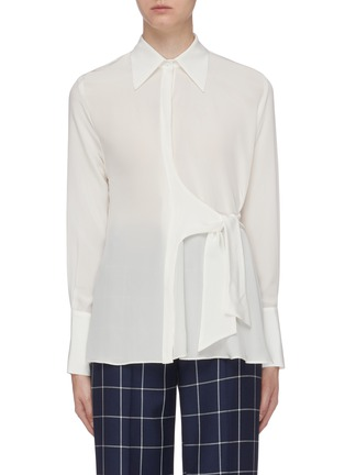 Main View - Click To Enlarge - BIANCA SPENDER - Tie side silk crepe shirt