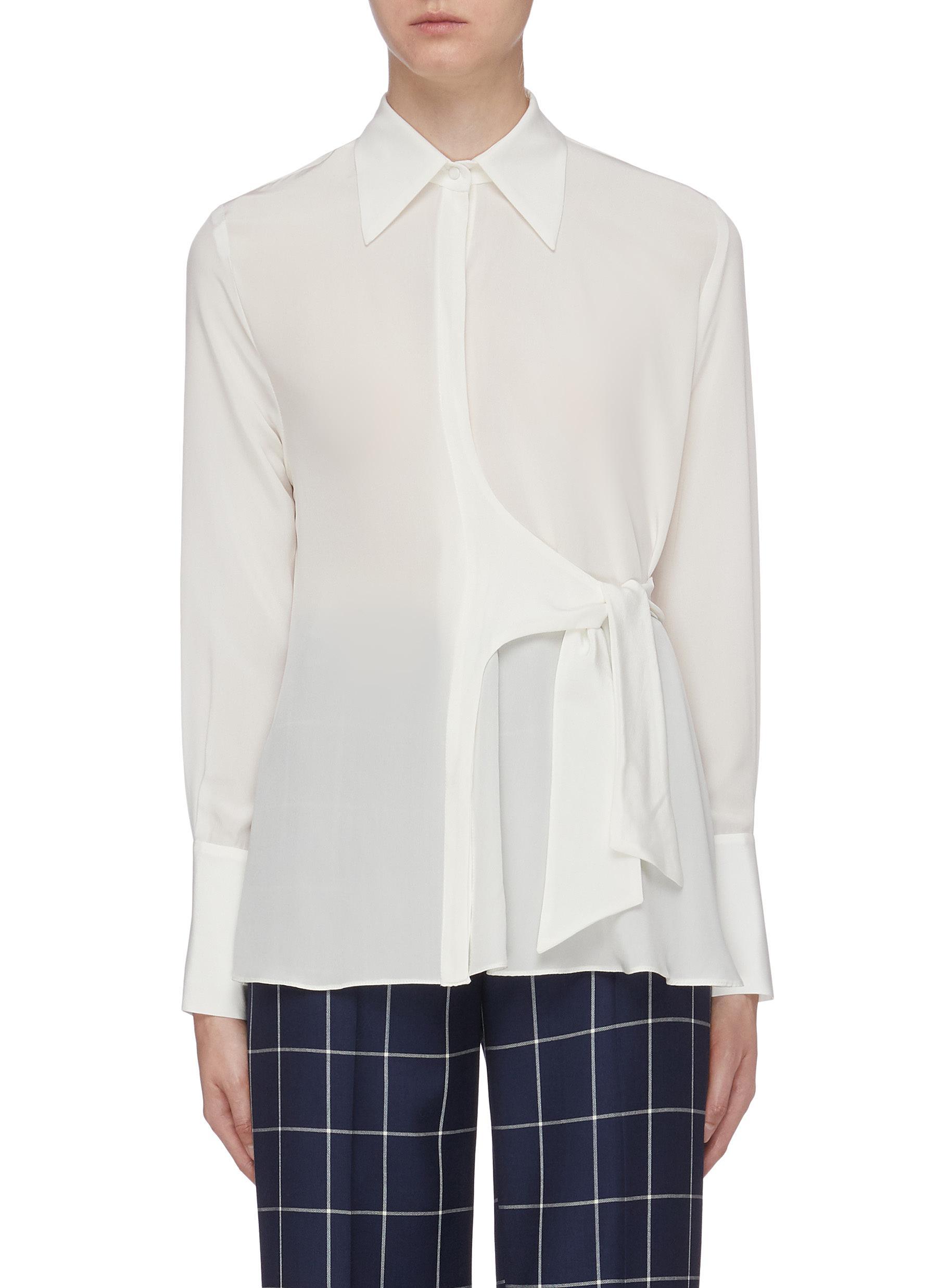 Tie side silk crepe shirt by Bianca Spender