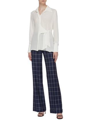 Figure View - Click To Enlarge - BIANCA SPENDER - Tie side silk crepe shirt
