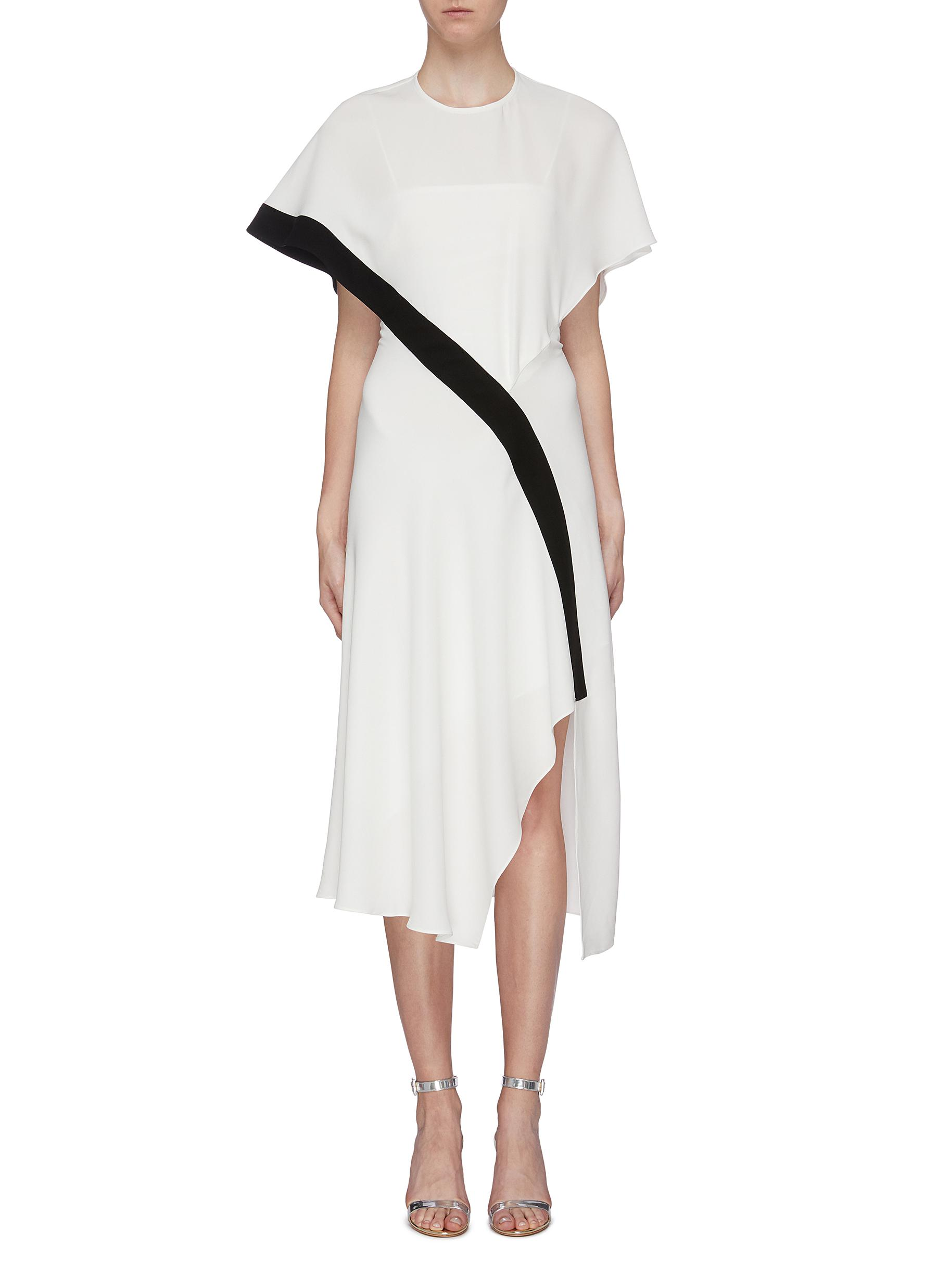 Lauren cape back overlay contrast stripe crepe dress by Bianca Spender
