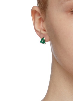 Figure View - Click To Enlarge - OLIVIA YAO - 'Lentille Triangle' agate Swarovski crystal stud earrings