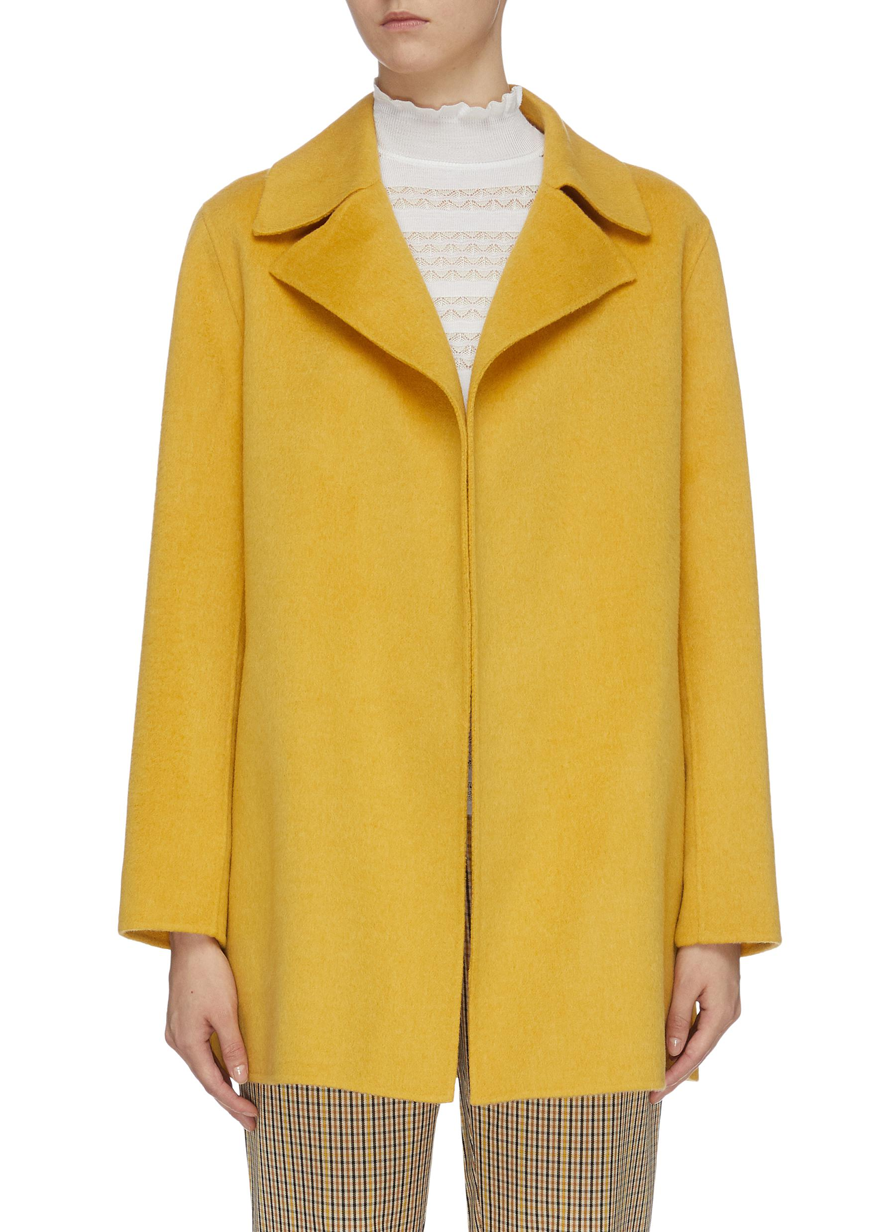 Wool-cashmere open melton coat by Theory