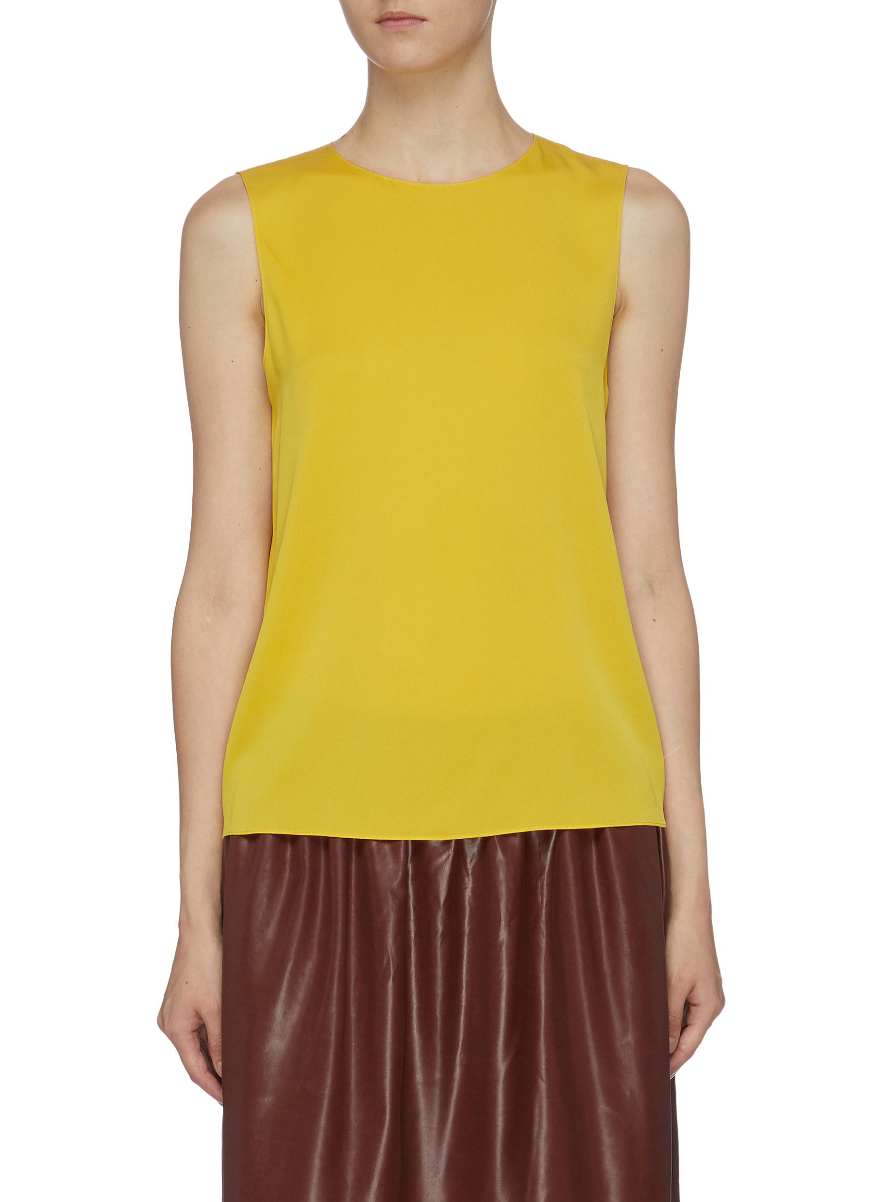 Sleeveless silk satin top by Theory
