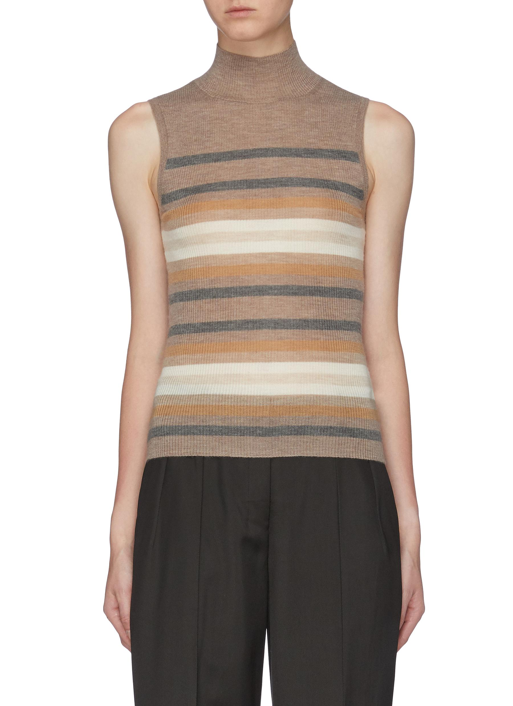 Stripe cashmere rib knit turtleneck top by Theory