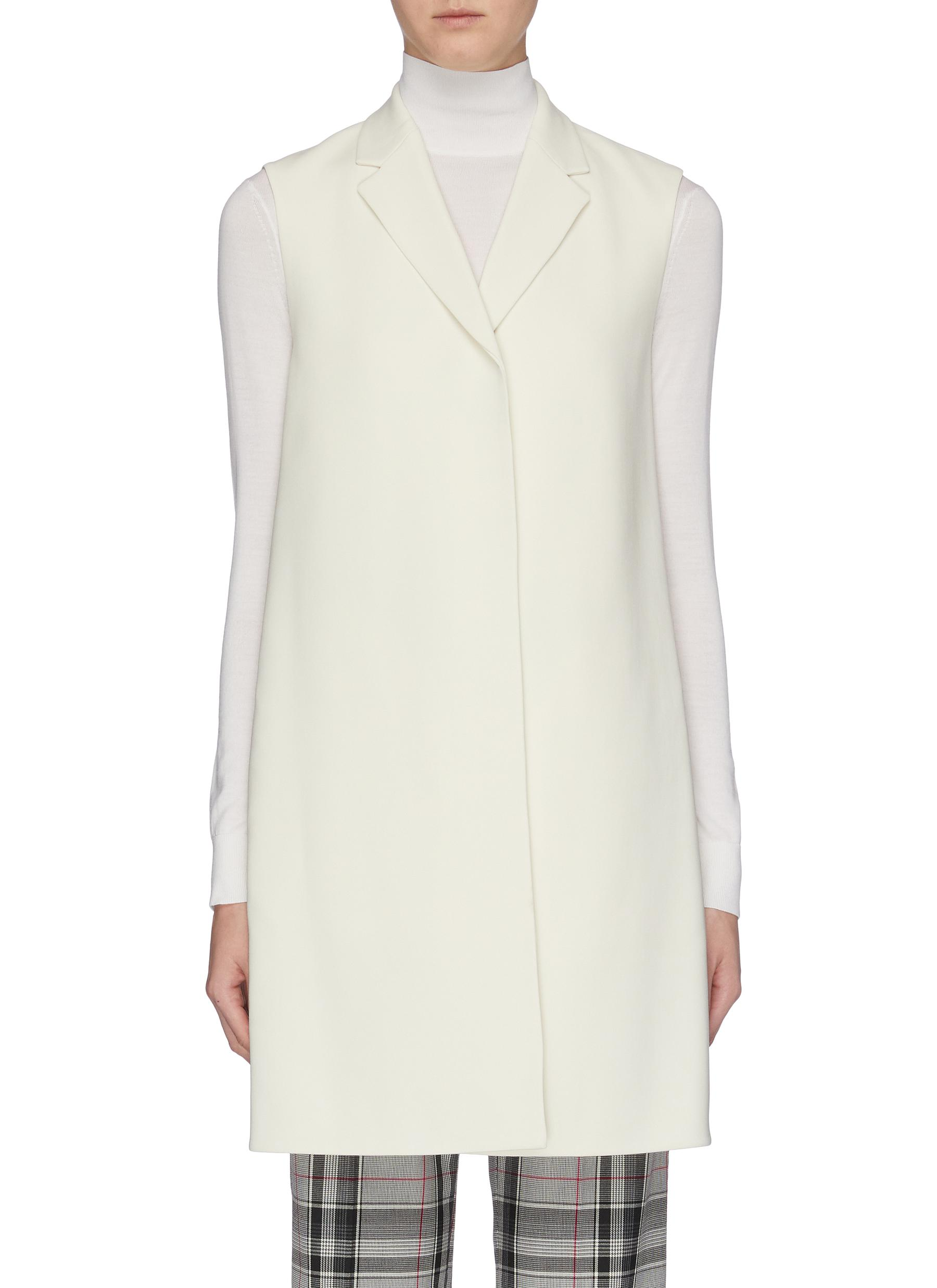 Notched lapel sleeveless crepe vest by Theory