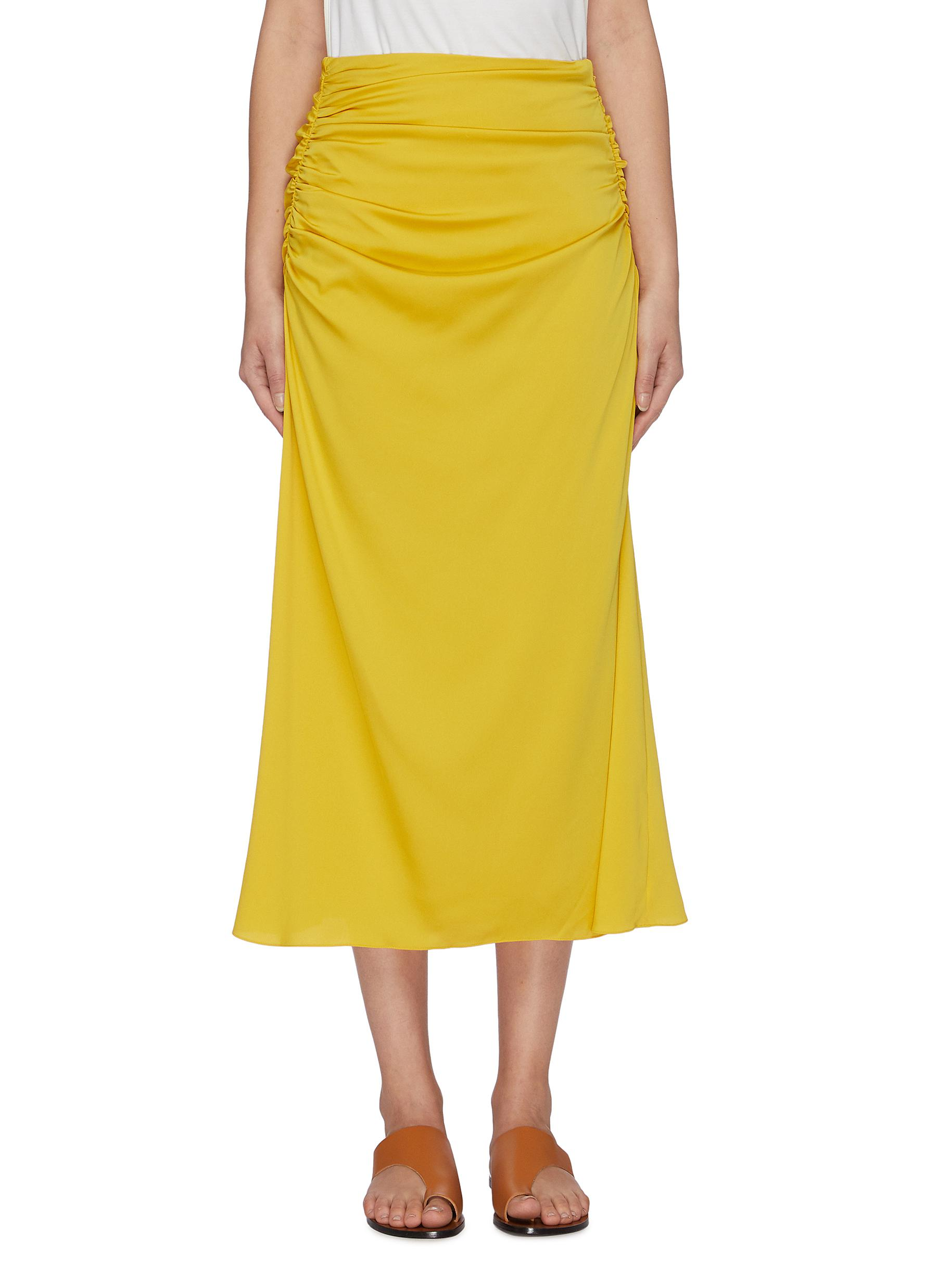 Ruched side silk blend skirt by Theory