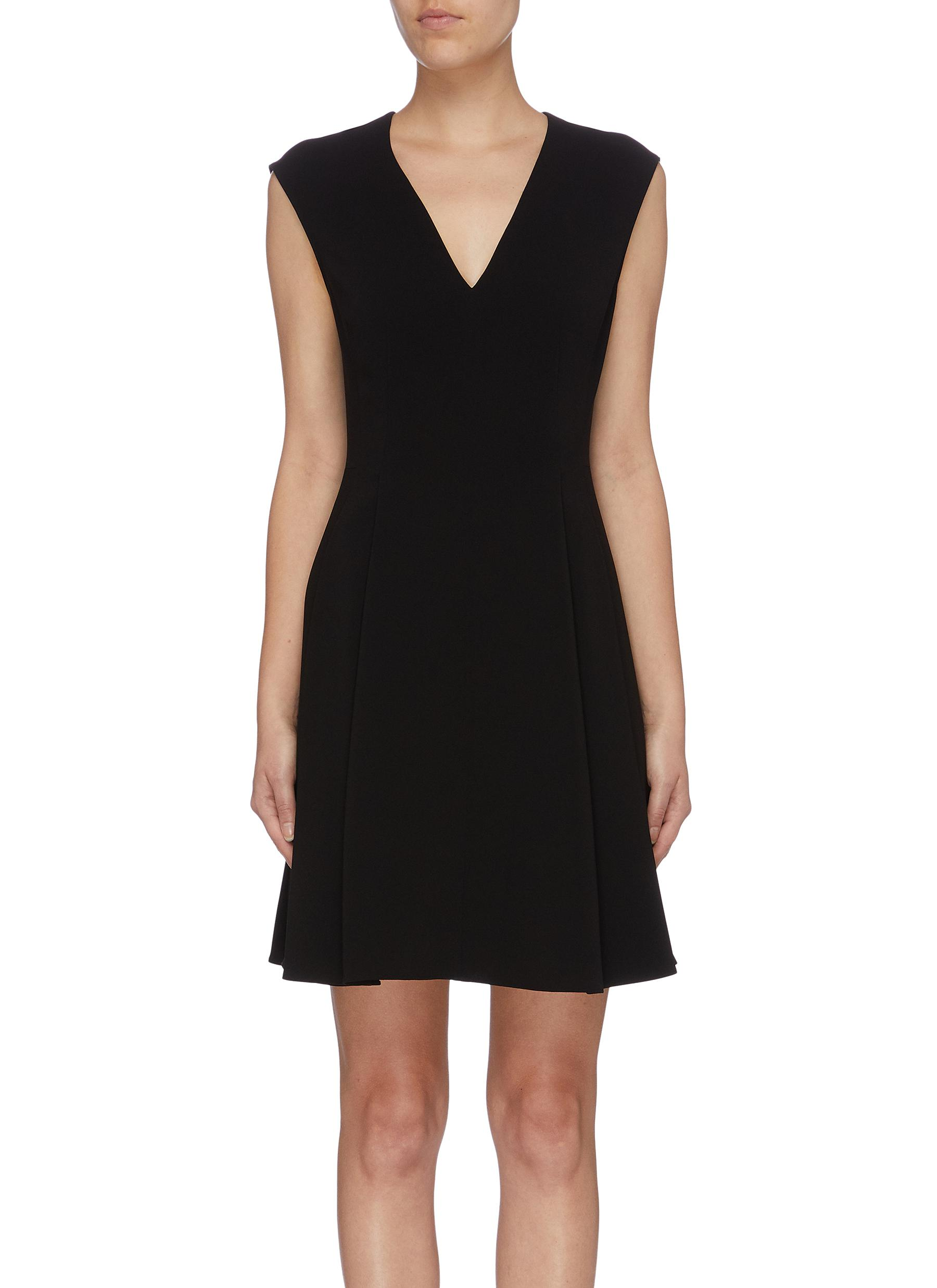 Pleated hem sleeveless crepe dress by Theory